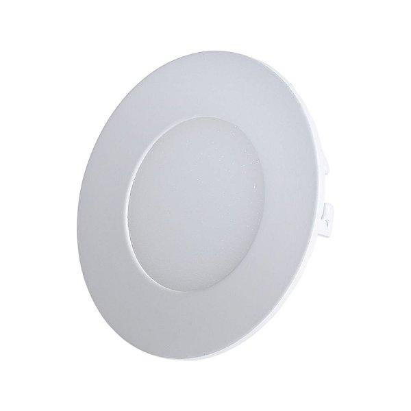 Luminária Plafon LED 3W 8x8 Redondo De Embutir Branco Quente 3000k