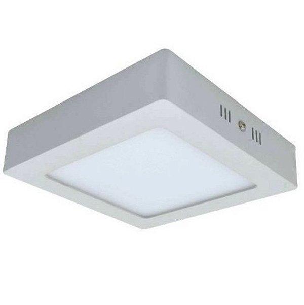 Luminária Plafon LED 6W 12x12 Quadrado De Sobrepor Branco Frio 6000k