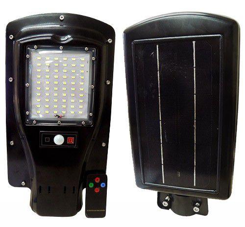 Luminária Pública Solar 30W LED Poste Completa com Controle 60 Leds Auto Recarregável