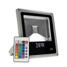 Refletor Holofote LED 20W IP66 A prova D'Água RGB Multicolorido Com Controle Remoto