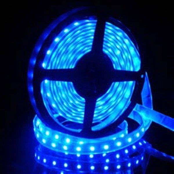 Fita LED 5050 Azul Siliconada Prova D'água 5 Metros + Fonte