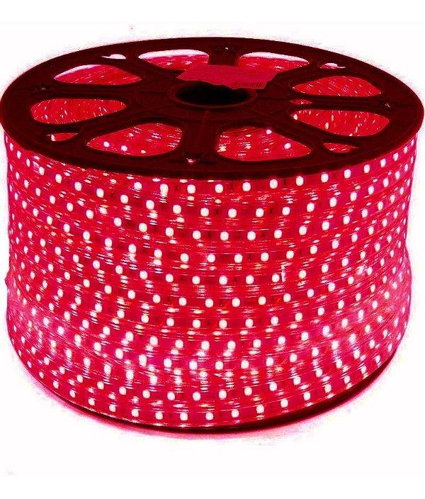 Fita LED 220v 5050 100 Metros Vermelho A prova D'Água