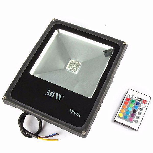 Refletor Holofote LED 30W IP66 A prova D'Água RGB Multicolorido Com Controle Remoto