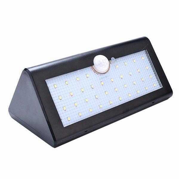 Luminária Solar LED 20W 40 Leds Sensor de Movimento Preta A prova D'Água