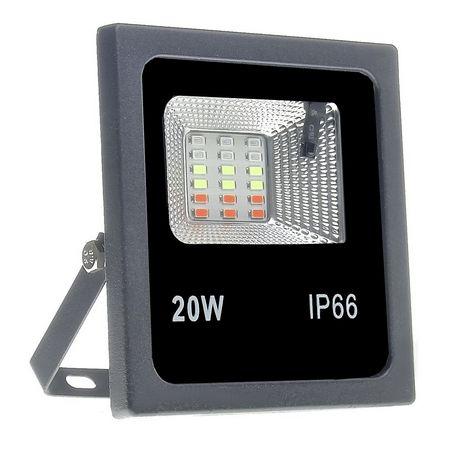 Refletor Holofote LED 20W SMD IP66 A prova D'Água RGB Multicolorido Com Controle