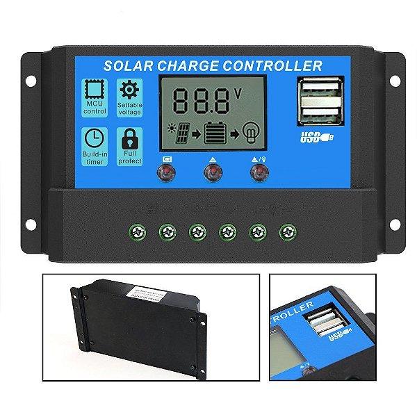 Controlador De Carga Solar LCD Display 10a 12/24v