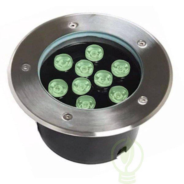 Spot Balizador LED 9W Embutir Para chão Jardim e Piso Verde IP67 A Prova D'Agua