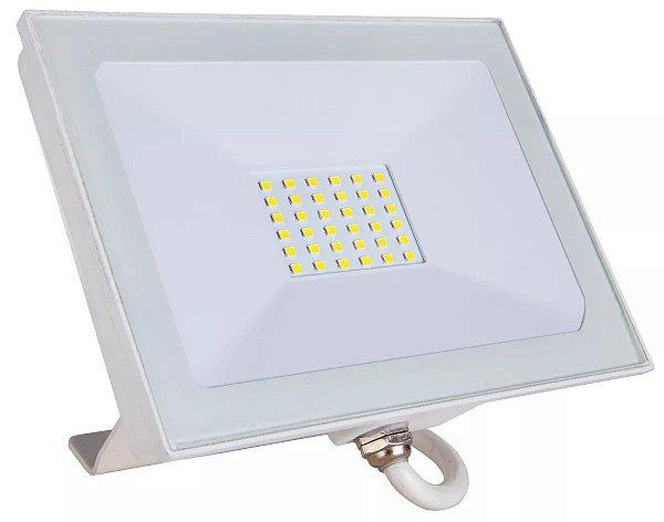 Refletor Holofote LED 30W SMD IP66 A prova D'Água Branco Frio 6000k Carcaça Branca