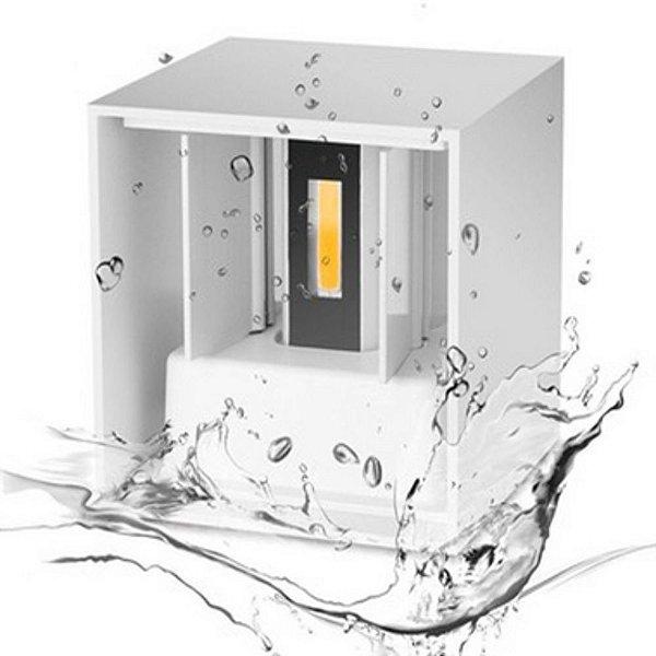 Luminária Arandela LED 6W A prova d'agua IP66 Branco Quente 3000k - Cubo Branco