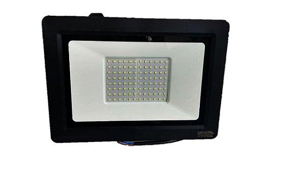 Refletor MicroLED Ultra Thin 200W Black Type Branco Frio 6000K Carcaça Preta