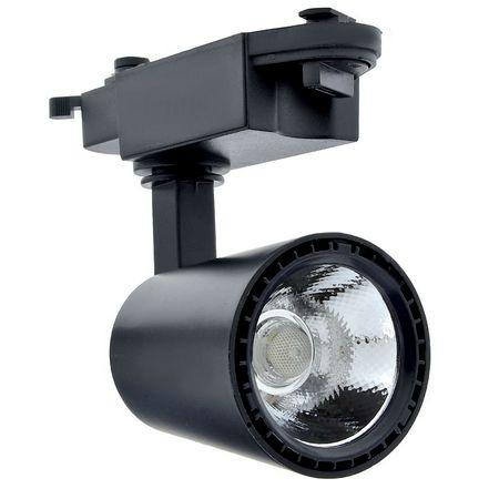 Spot 12W LED Preto para Trilho Eletrificado Branco Frio 6000k