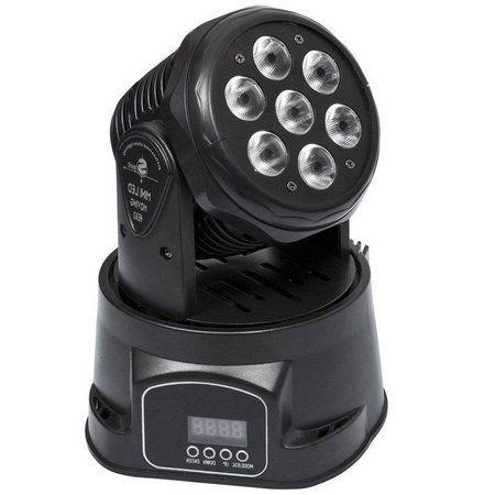 Mini Refletor Holofote LED Moving Head RGB 7 LEDS para Festa
