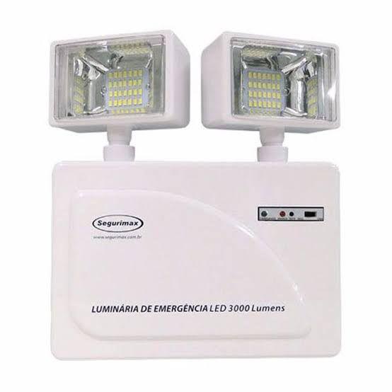 Luminária de Emergência LED 3.000 Lúmens | 2 Faróis