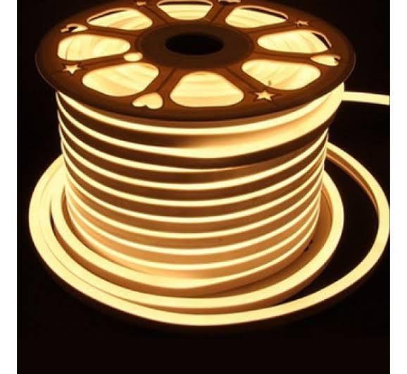 Fita LED 220v 100 Metros Mangueira Flexivel Neon Branco Quente 3000k