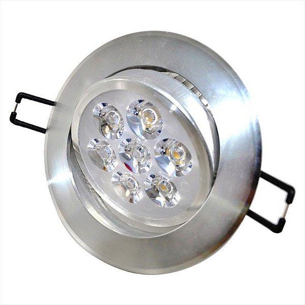 Spot Dicróica 7W LED Direcionável De Aluminio Branco Quente 3000k