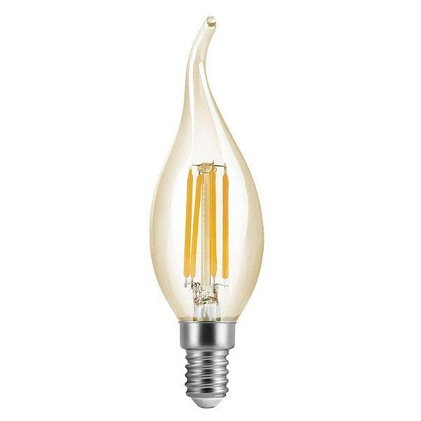 Lâmpada 4W LED Vela E14 Chama Vintage Carbon Branco Quente 2600K