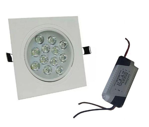 Spot 12W LED Dicróica Direcionavel Quadrado Gesso Sanca De Embutir Branco Frio 6000k
