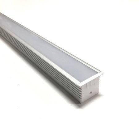 Luminária LED Perfil 12W 60cm Linear Retangular de Embutir Branco Quente