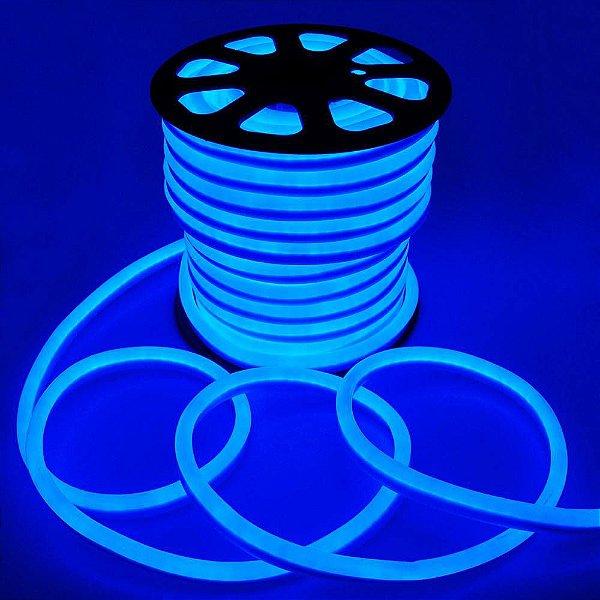 Fita Mangueira LED 220v 100 Metros Flexível Neon Azul
