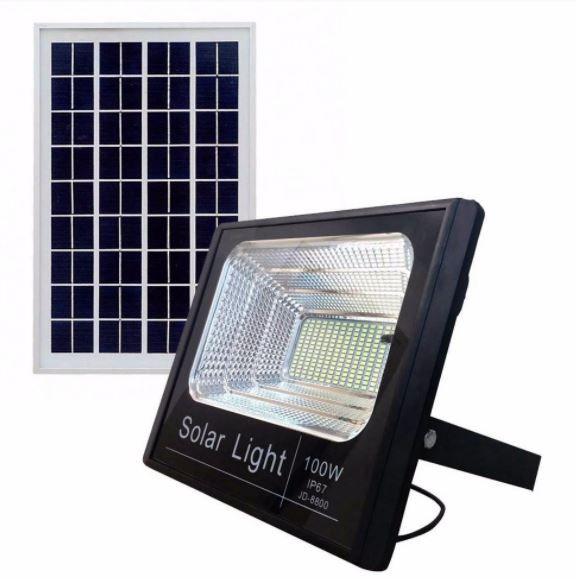 Refletor Painel Solar 300W LED Bateria Litio Recarregável Com Controle Branco Frio IP67