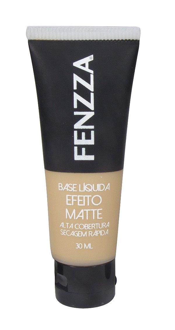 base líquida efeito matte Fenzza Make Up - bege médio