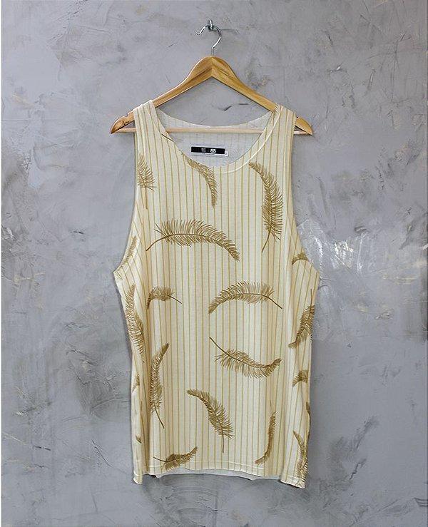 Camiseta Regata Off-White Listras Amarelas