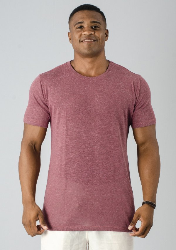Camiseta Gola Careca Tricô Vermelha