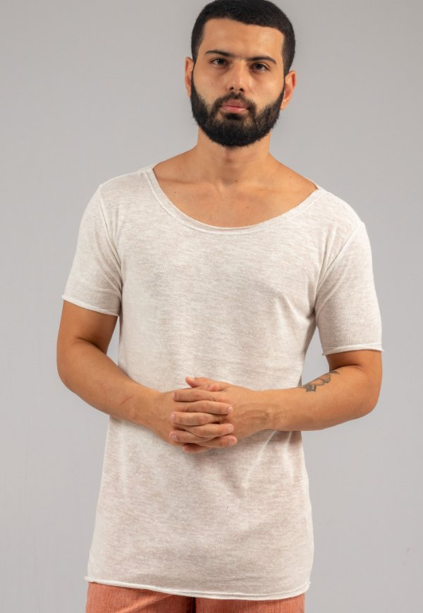 Camiseta Gola Canoa Tricô Off-White