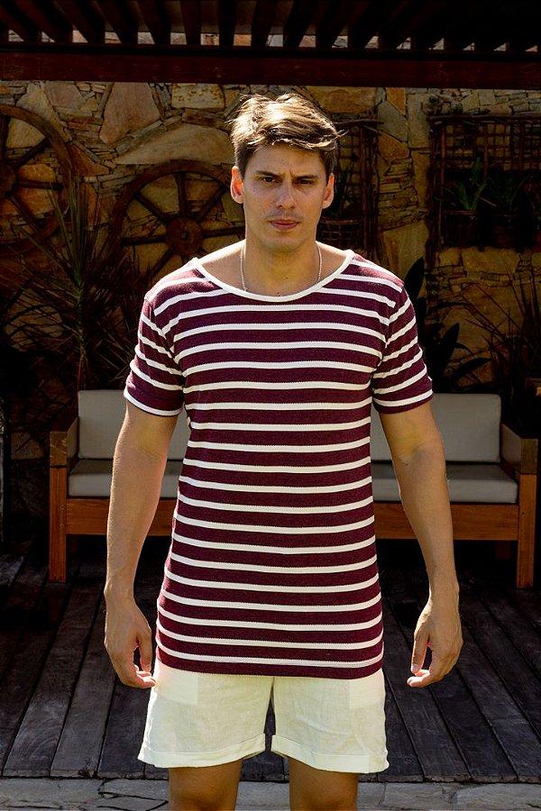 Camiseta Gola Canoa Vinho Listras Tricô