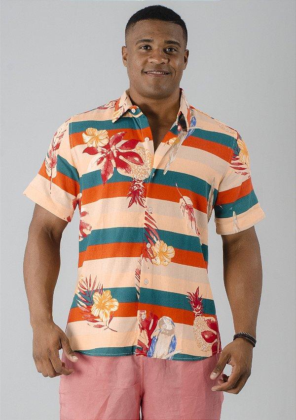 Camisa de Botão Nude Flores e Listras Coloridas