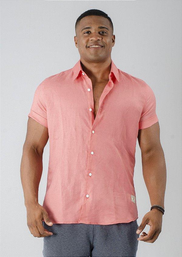 Camisa de Botão Linho Rosa