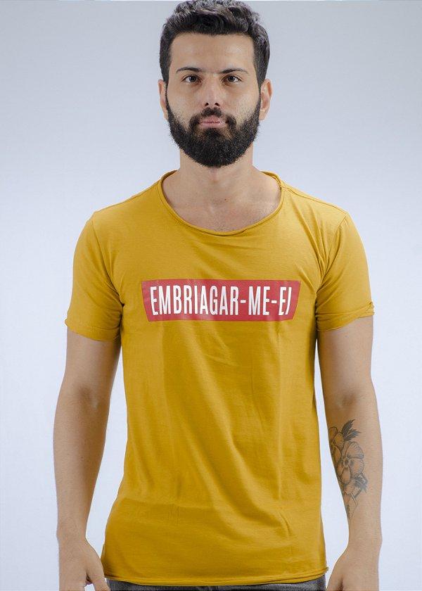 Camiseta Gola Redonda a Fio Amarela Embriagar-Me-Ei