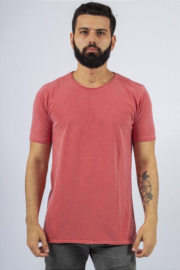 Camiseta Gola Redonda a Fio Vermelha Estonada
