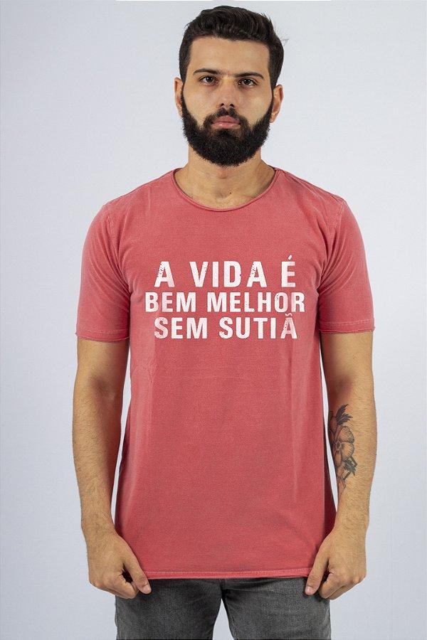 Camiseta Gola Redonda a Fio Vermelha Sutiã