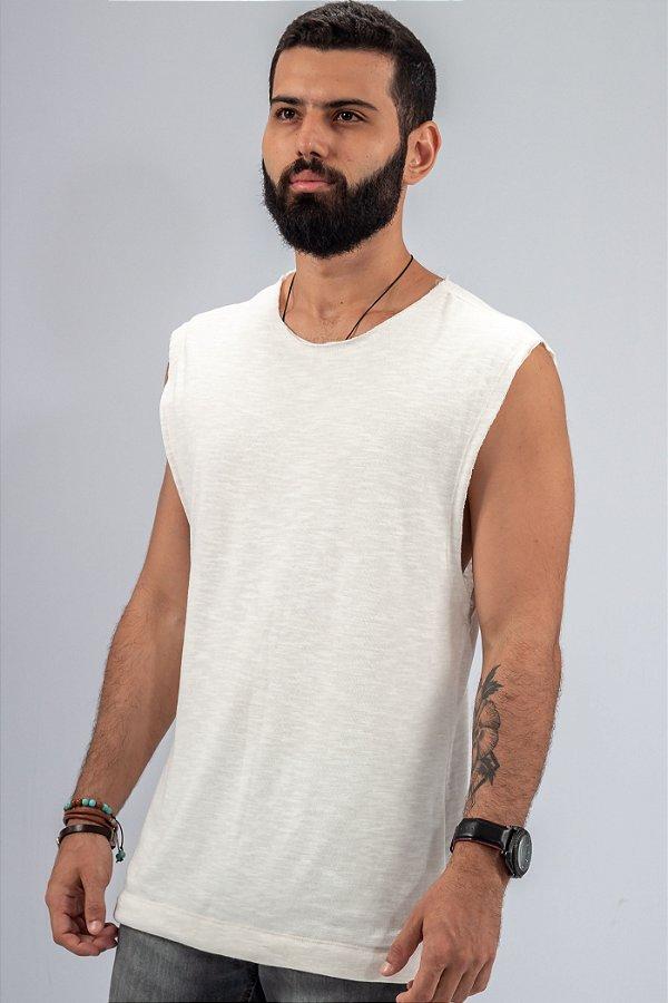 Camiseta Regata Machão Tricô Off-White Frente Dupla