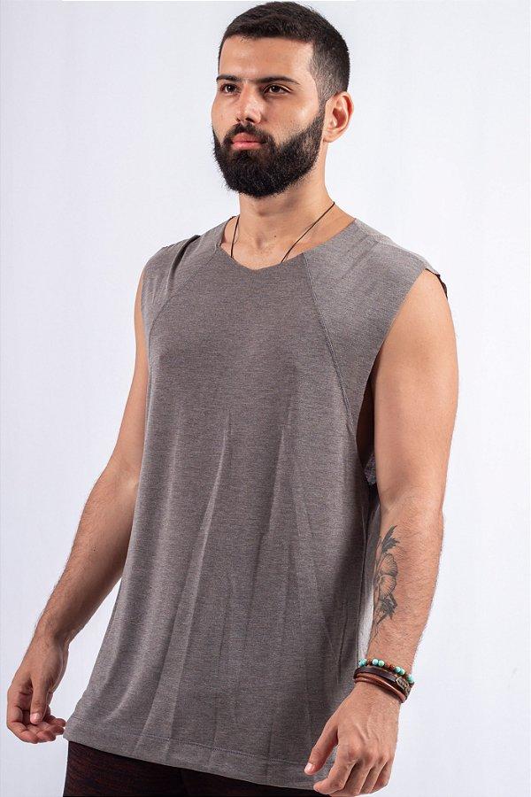 Camiseta Regata Machão Tricô Cinza Básica