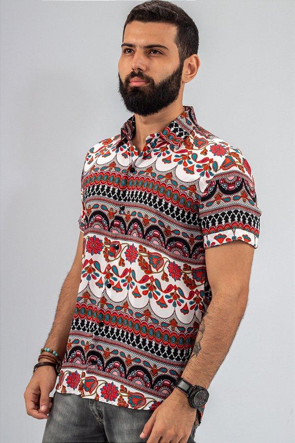 Camisa de Botão Estampada Casual Etnia