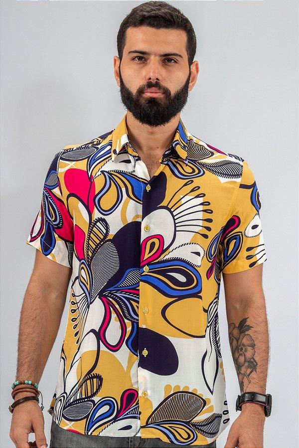 Camisa de Botão Estampa Frape Amarelo