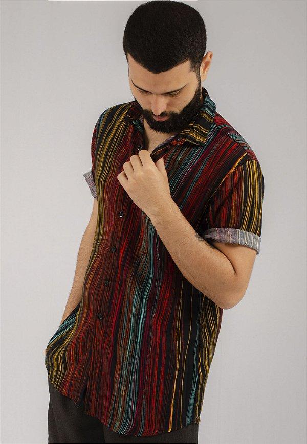 Camisa de Botão Estampa DGT Lines