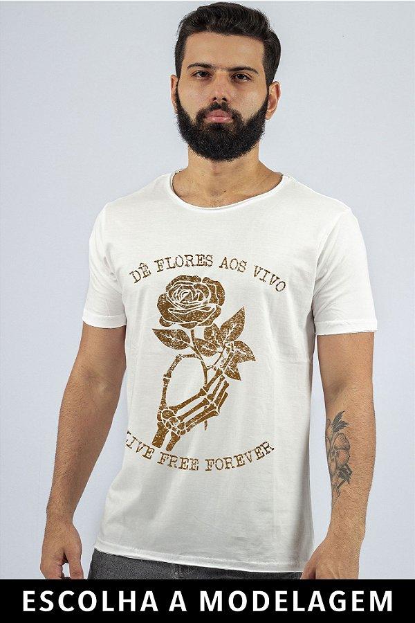 Camiseta Branca Dê Flores aos Vivos