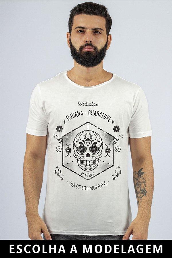 Camiseta Branca Dia De Los Muertos