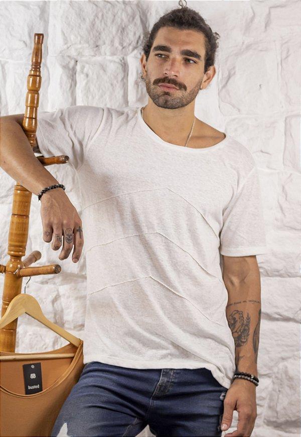 Camiseta Gola Canoa Nervura Off White Nature