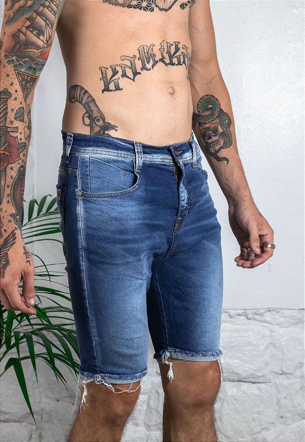 Bermuda Jeans Azul Barra Destroyed