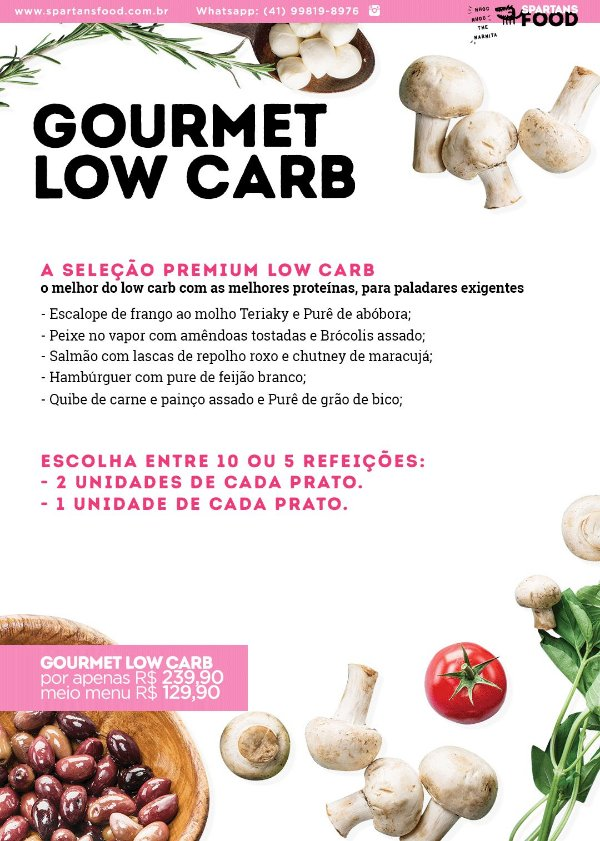 Menu Gourmet Low Carb