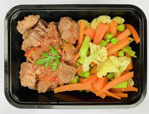 Carne de panela e mix de legumes a vapor - low carb