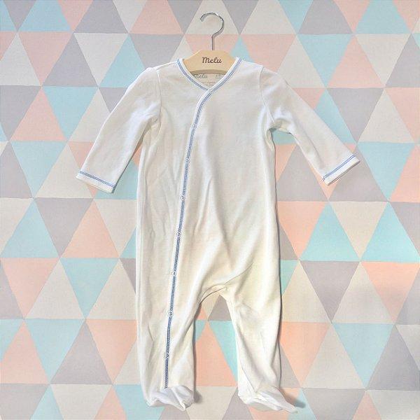 Pijama orgânico - com pezinho - Azul