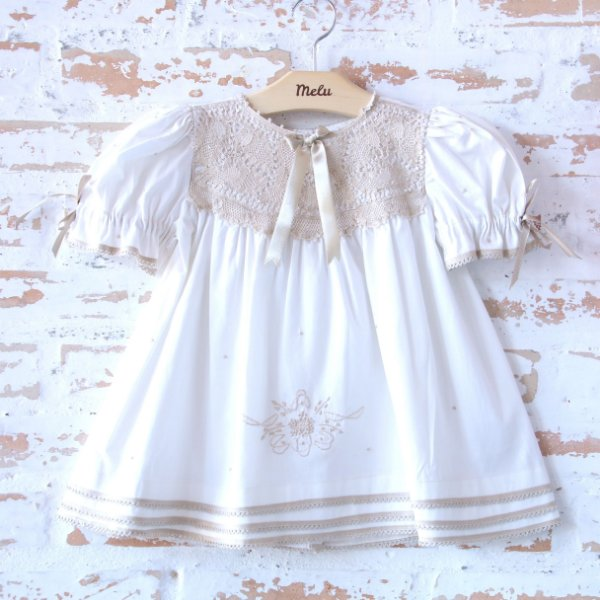 Vestido Off-White com Renda Renascença Bege