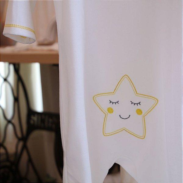 Pijama Orgânico Com Pezinho - Bordado Estrela
