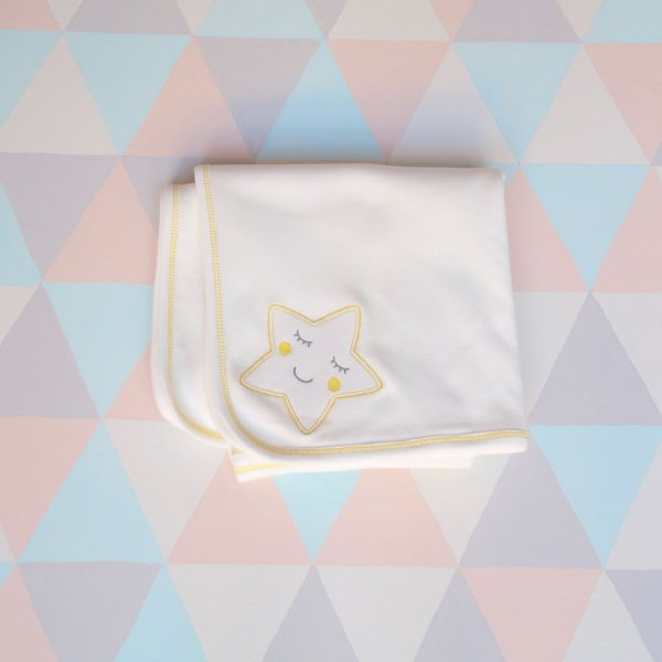 Manta orgânica dupla bordada - Estrela