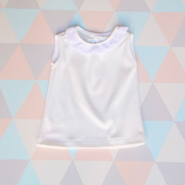 Camiseta orgânica - Regata - Branca com renda